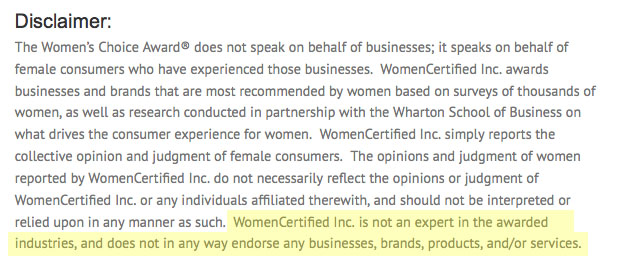 Womens choice award disclaimer